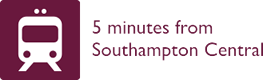 Southampton train station location in relation to Mercure Southampton Centre Dolphin Hotel