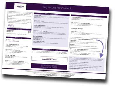 Mercure Southampton Centre Dolphin hotel A la Carte menu September 2018