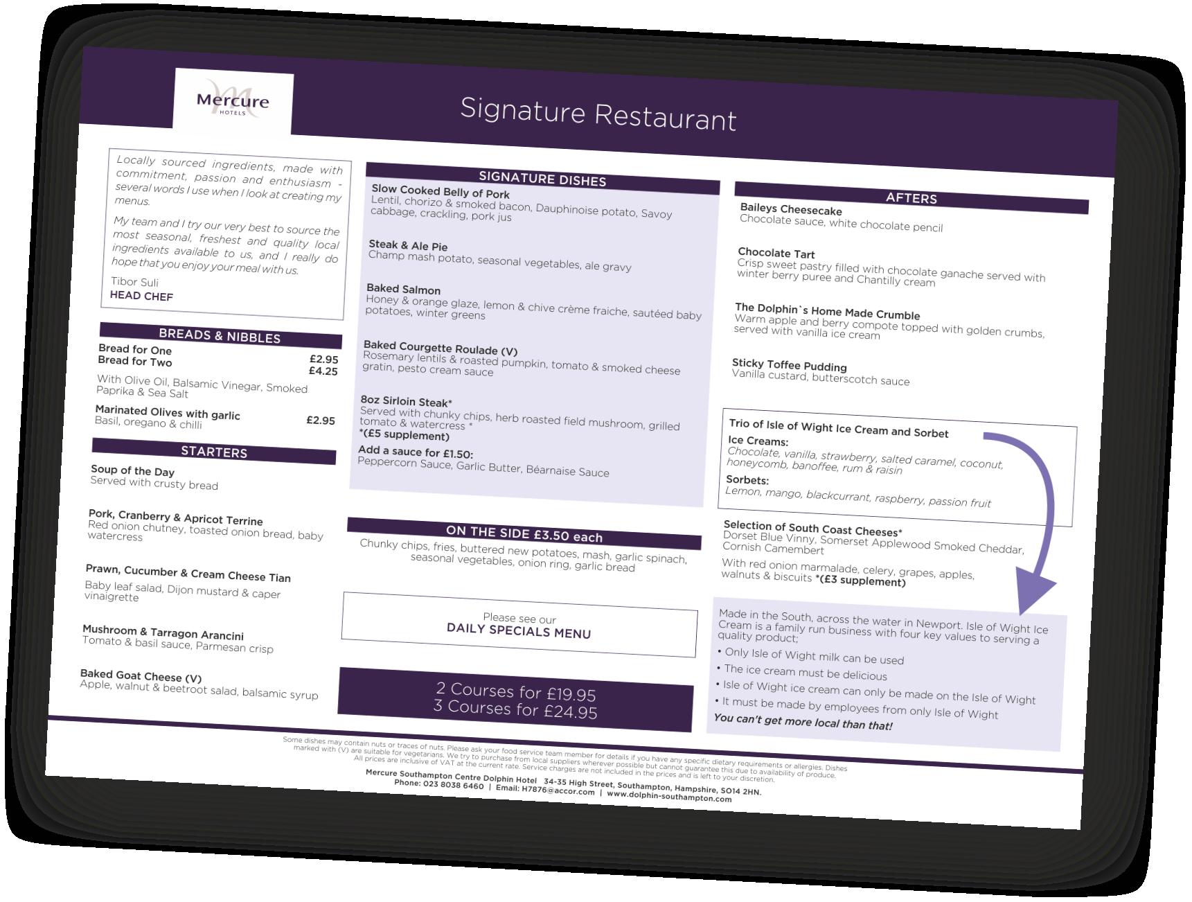 Mercure Southampton Centre Dolphin hotel A la Carte menu November 2018