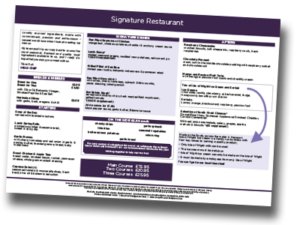 Mercure Southampton Centre Dolphin hotel A la Carte menu March 2019