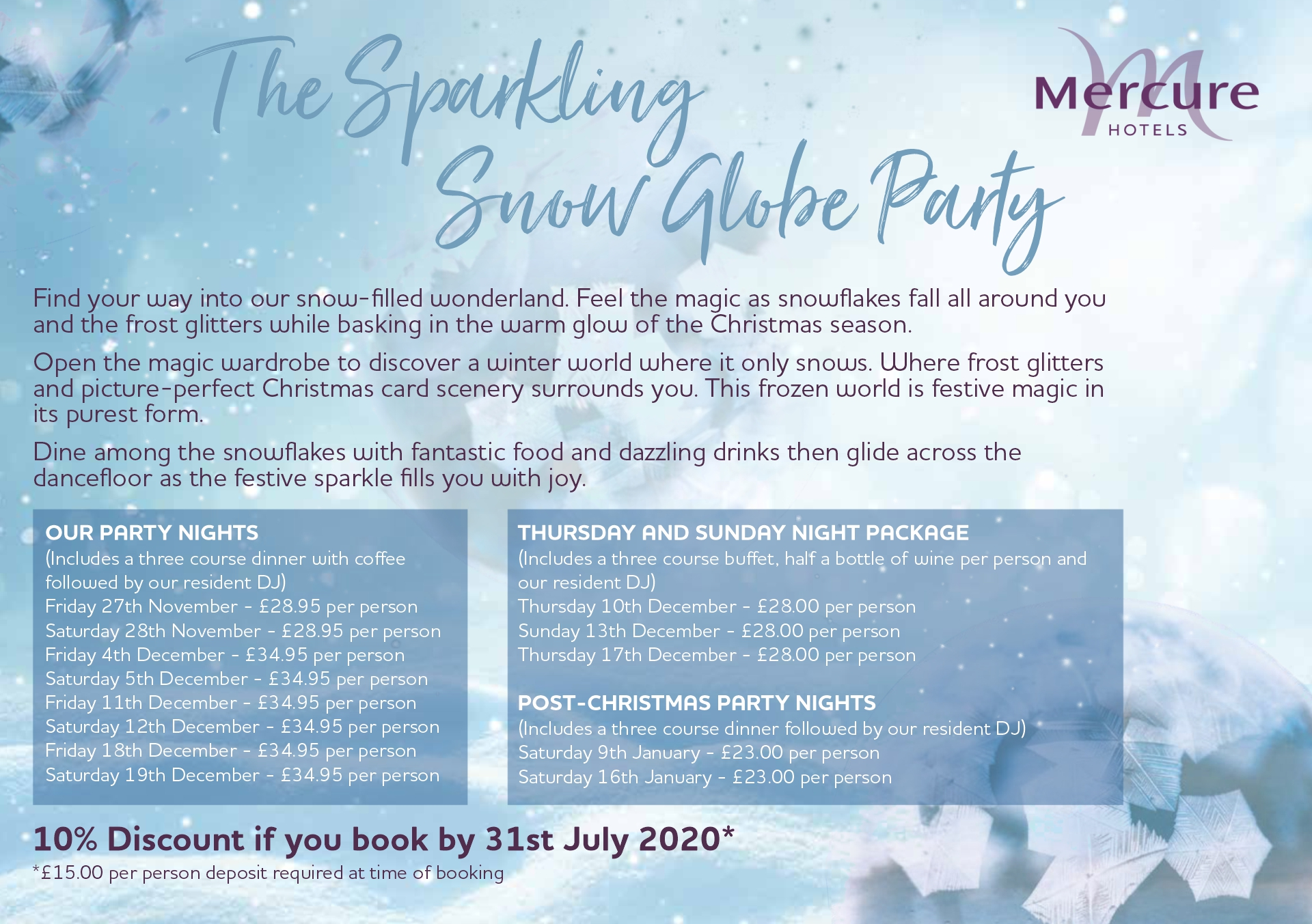 Christmas Party Nights Mercure Southampton Centre Dolphin Hotel