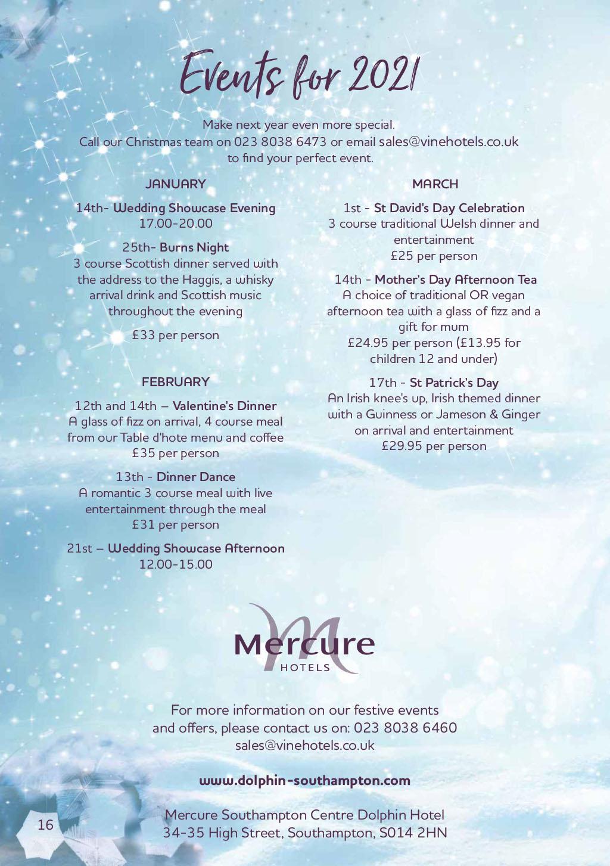 Mercure Southampton Centre Dolphin Hotel Christmas Brochure 2020